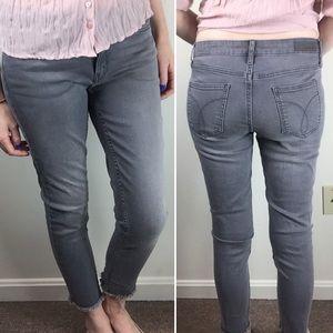 Calvin Klein Ankle Skinny Gray Jeans Raw Fringe